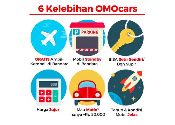 infografis 6 kelebihan rental mobil di OMOcars Bali